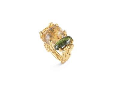 Ole Lynggaard | BoHo ring - Green tourmaline & Rutile quartz