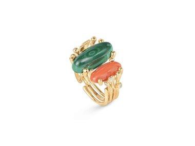 Ole Lynggaard | BoHo ring - Coral & Malachite